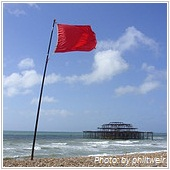 red flag on the beach